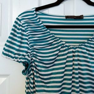 Teal and White Stripe Cap Sleeve Top THE LIMITED